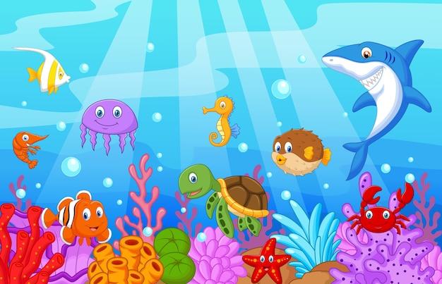 Desenho de vida marinha com conjunto de coleta de peixe Vetor Premium