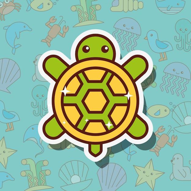 Desenho de vida marinha de tartaruga Vetor Premium