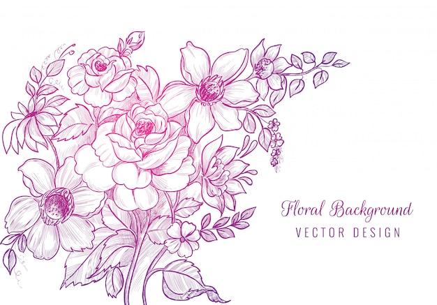 Desenho decorativo desenhado à mão com fundo floral Vetor grátis