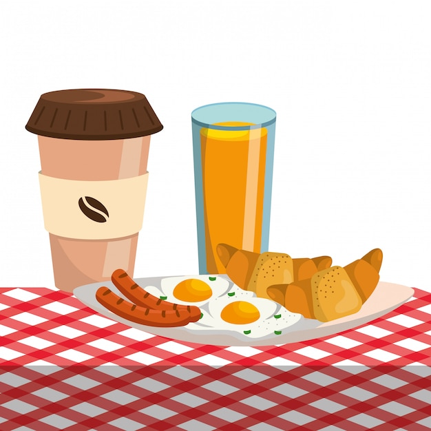 Desenho delicioso saboroso café da manhã Vetor Premium