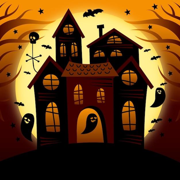 Desenho desenhado à mão casa de halloween Vetor grátis