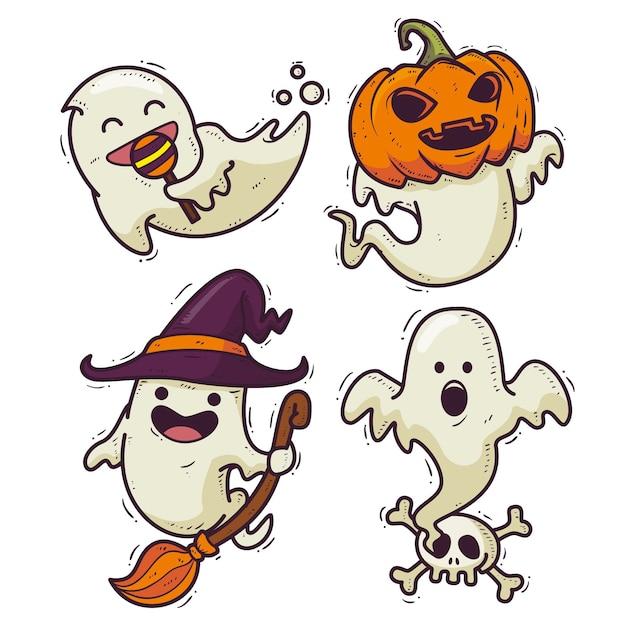 Desenho desenhado à mão pacote fantasma de halloween Vetor Premium