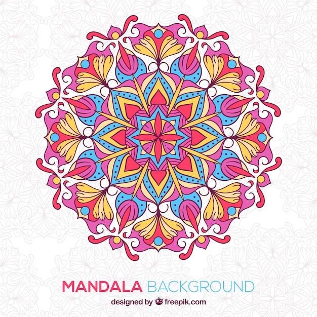 Desenho Desenhado De Mandala Colorida Vetor Gratis