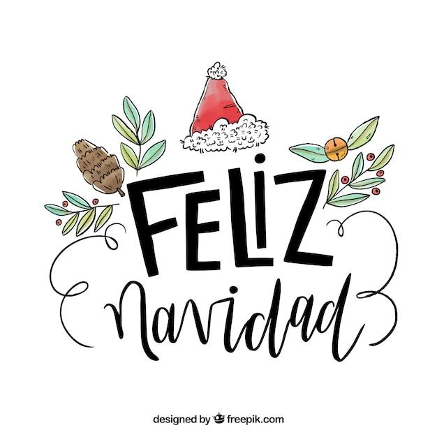 Desenho desenhado feliz navidad lettering background Vetor grátis