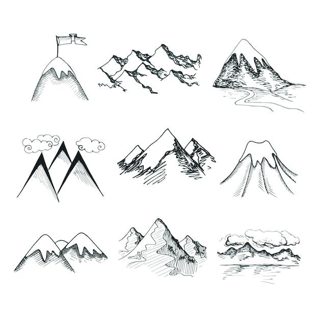 Line Drawing Mountain : Desenho desenhado neve gelo montanha topos decorativo