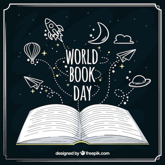 Desenho desenhado para o dia do livro mundial Vetor grátis