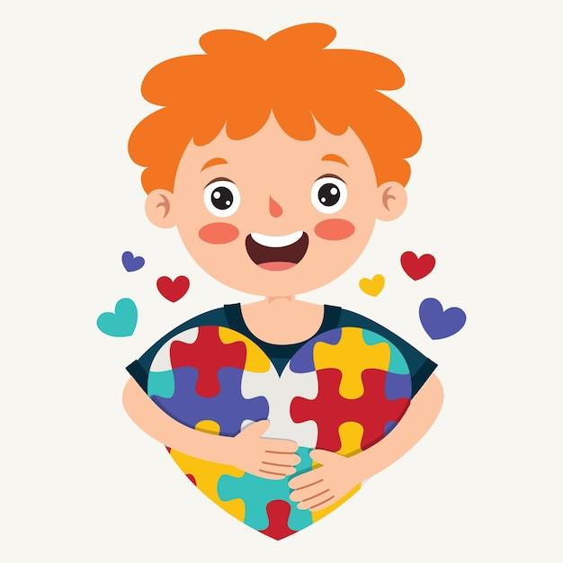 Desenho do conceito de consciência do autismo Vetor Premium