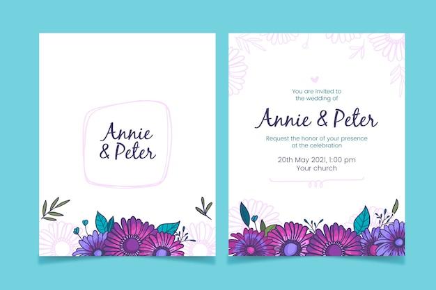 Desenho do design de convite de casamento Vetor grátis