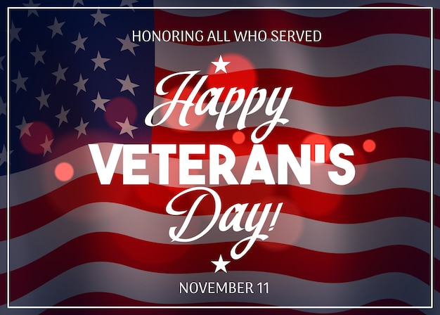 Desenho do dia dos veteranos com a bandeira dos eua no fundo Vetor Premium