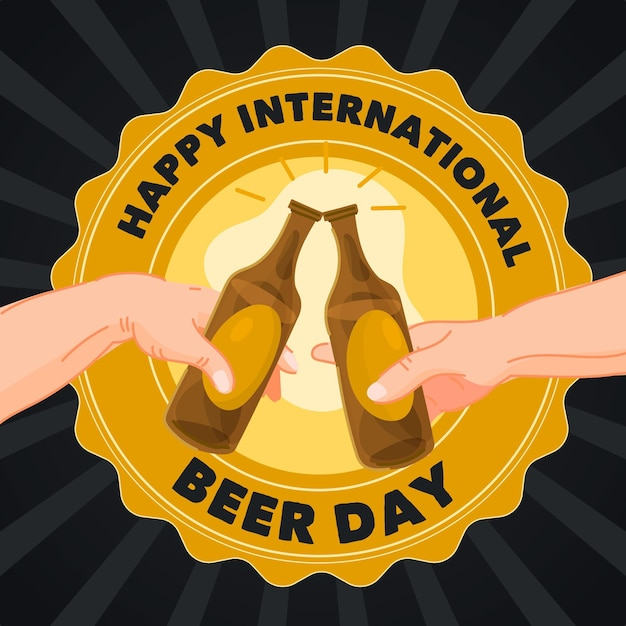 Desenho do dia internacional da cerveja Vetor grátis
