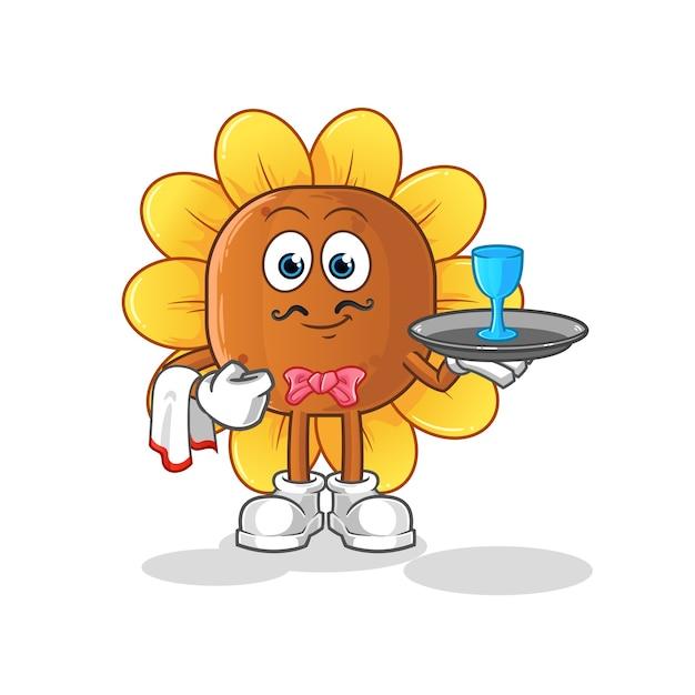 Desenho do garçom flor do sol Vetor Premium