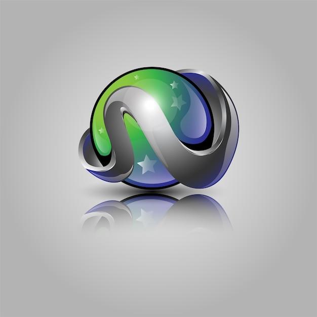 Desenho do logotipo da bola 3d Vetor Premium