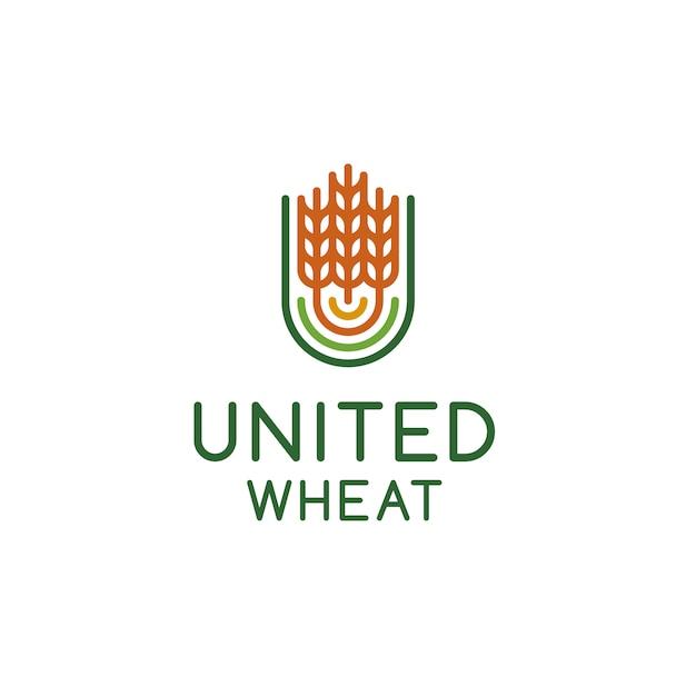 Desenho do logotipo de trigo Vetor Premium