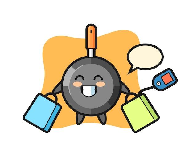 Desenho do mascote da frigideira segurando uma sacola de compras Vetor Premium