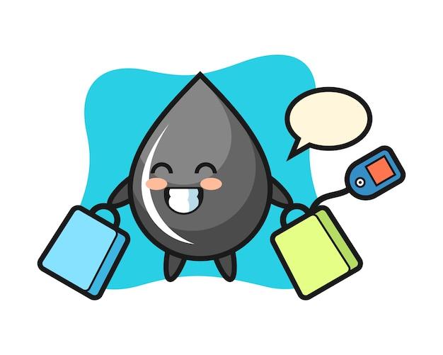 Desenho do mascote da gota de óleo segurando uma sacola de compras Vetor Premium