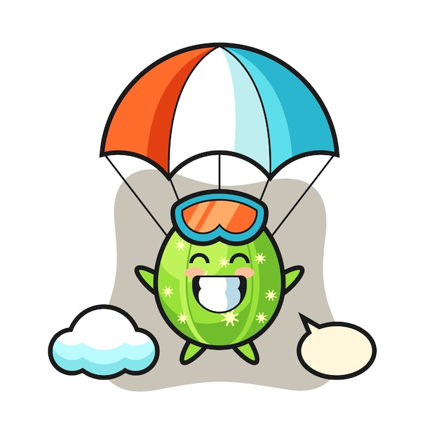 Desenho do mascote do cacto fazendo paraquedas com um gesto alegre Vetor Premium