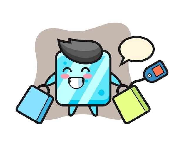 Desenho do mascote do cubo de gelo segurando uma sacola de compras Vetor Premium