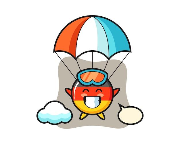 Desenho do mascote do emblema da bandeira da alemanha fazendo paraquedismo com gesto feliz Vetor Premium
