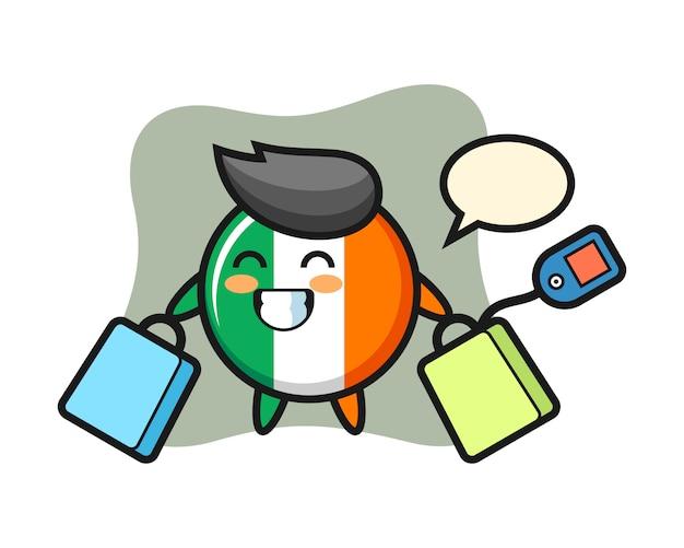 Desenho do mascote do emblema da bandeira da irlanda segurando uma sacola de compras Vetor Premium
