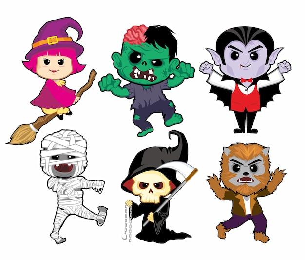 Desenho do mascote do halloween Vetor Premium