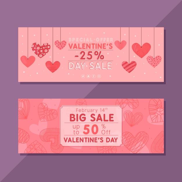 Desenho do modelo de banners de venda do dia dos namorados Vetor grátis