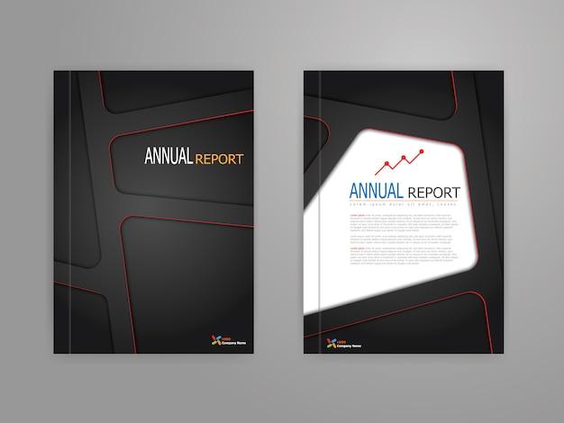 Desenho do modelo de capa do relatório anual em escala a4 Vetor Premium