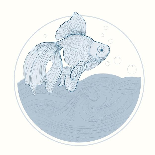Desenho do peixe dourado, linha arte de fish vetora illustration. Vetor Premium