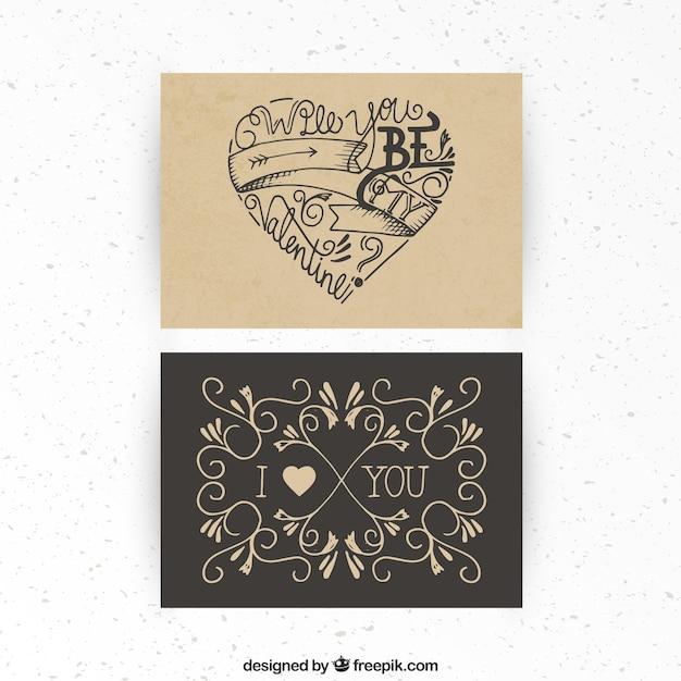 Desenho Dos Namorados Retro Cartao Do Dia Vetor Gratis