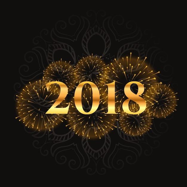 Desenho dourado de fogos de artifício 2018 e design brilhante Vetor grátis