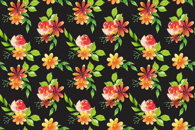 Desenho em aquarela de padrão de flores Vetor grátis