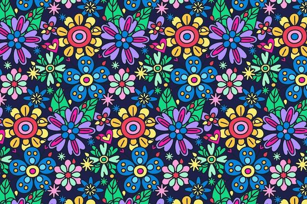 Desenho floral descolado Vetor Premium