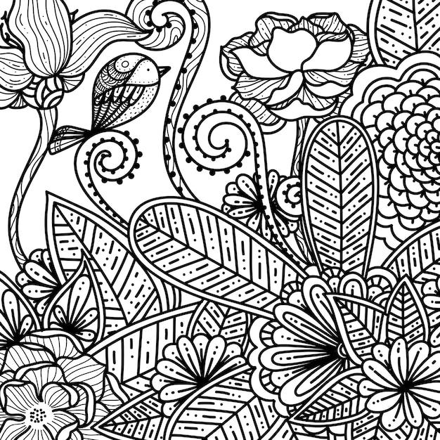 Desenho Floral E Flores Para Adultos Livro Para Colorir Vetor