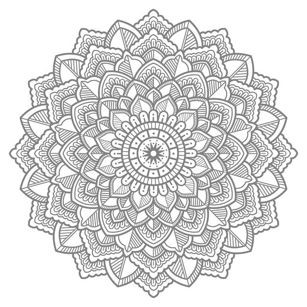 Desenho floral mandala ilustração com arte de linha Vetor Premium