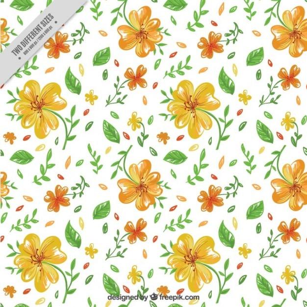desenho flores amarelas com folhas verdes fundo baixar vetores premium