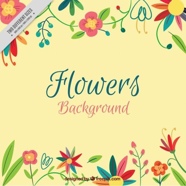 Desenho Flores Coloridas Fundo Vetor Gratis
