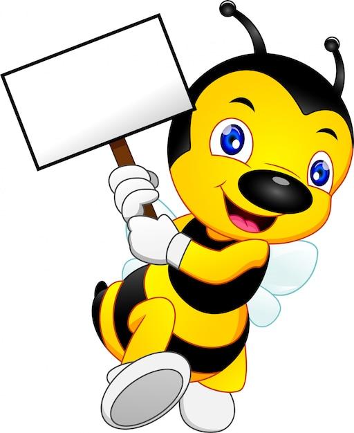 Desenho fofo de abelha com um cartaz ou placa em branco Vetor Premium