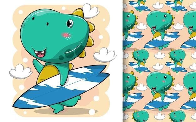 Desenho fofo de dinossauro carregando uma prancha de surf Vetor Premium