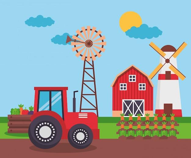 Desenho fresco de fazenda Vetor grátis