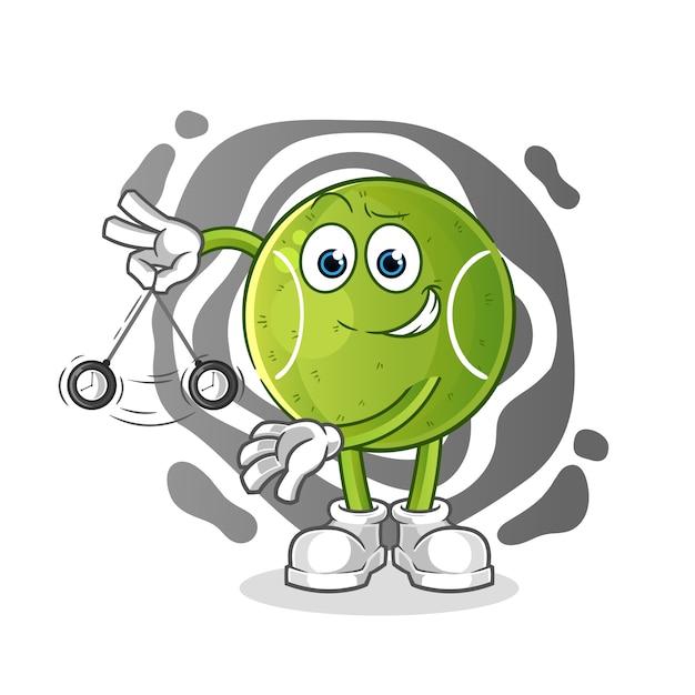 Desenho hipnotizador de tênis. mascote dos desenhos animados Vetor Premium