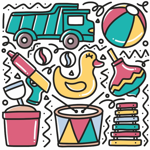 Desenho infantil doodle de brinquedo de praia com ícones e elementos de design Vetor Premium