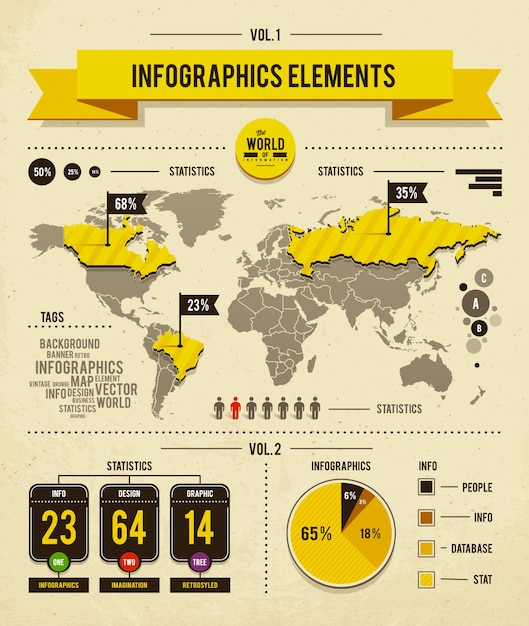 desenho infográfico do mapa mundial Vetor grátis