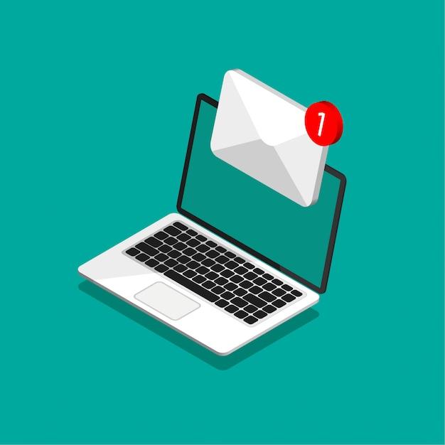 Desenho isométrico de laptop com envelope e documento na tela. obter ou enviar nova carta. e-mail, email marketing, conceitos de publicidade na internet em estilo moderno. ilustração. Vetor Premium