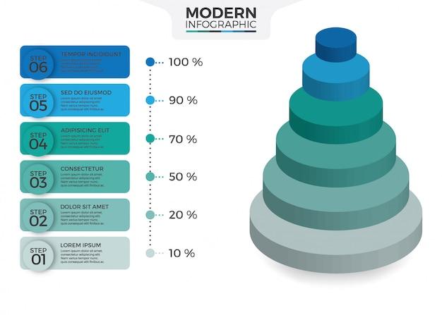 Desenho isométrico infográfico com 6 opções de folhas ou passos Vetor Premium
