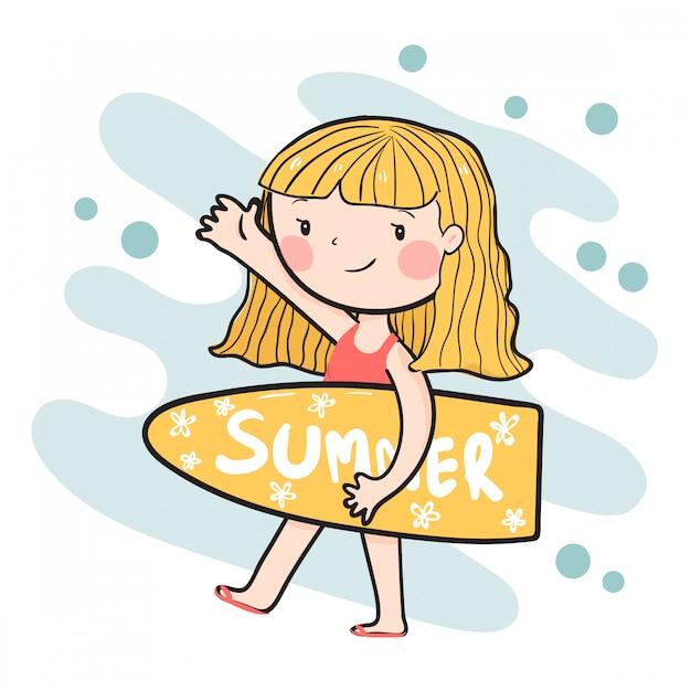 Desenho linda garota feliz surfista segurando vector plana de prancha de surf de verão Vetor Premium