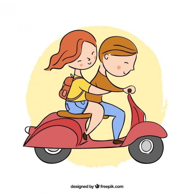 desenho lindo casal em uma moto baixar vetores premium