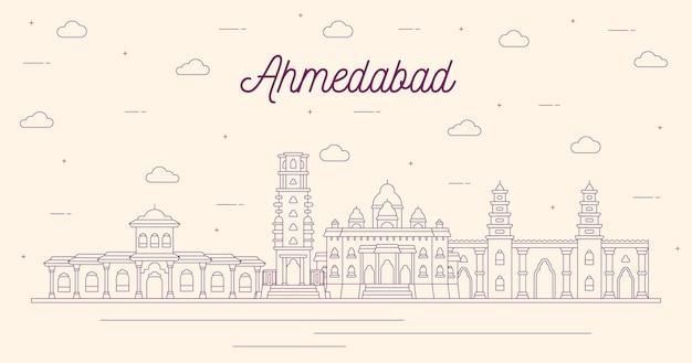 Desenho linear do horizonte de ahmedabad Vetor grátis