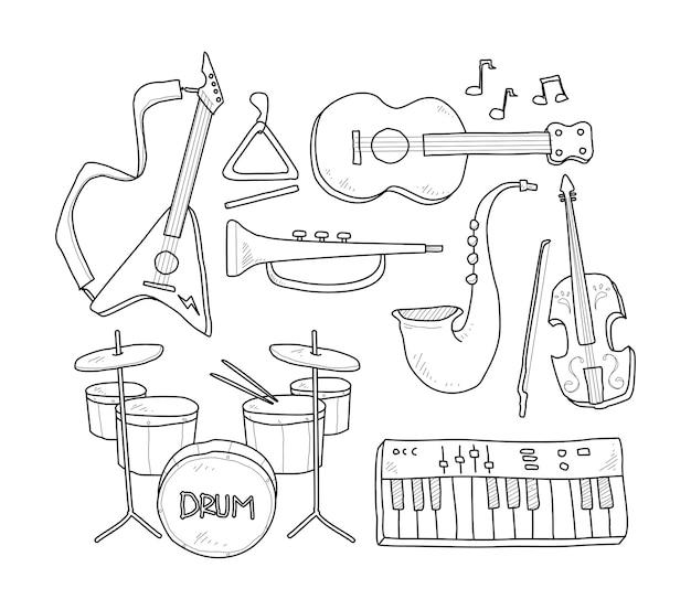 Desenho Manual De Instrumentos Musicais