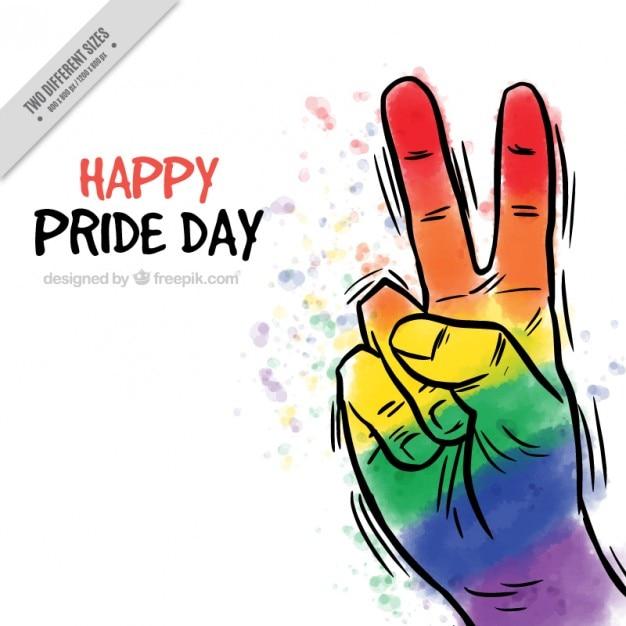 Desenho mão colorida fazendo paz símbolo de fundo Vetor grátis