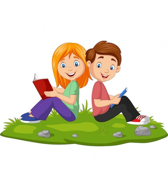 Desenho Menino E Menina Lendo Livros Na Grama Vetor Premium