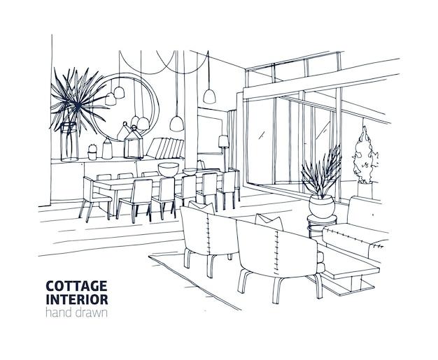Desenho monocromático aproximado do interior de uma casa ou chalé de verão com móveis e decorações elegantes Vetor Premium